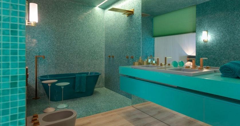 Tendências e Ideias de Banheiros Decorados -> Banheiro Com Pastilha De Vidro Verde Agua