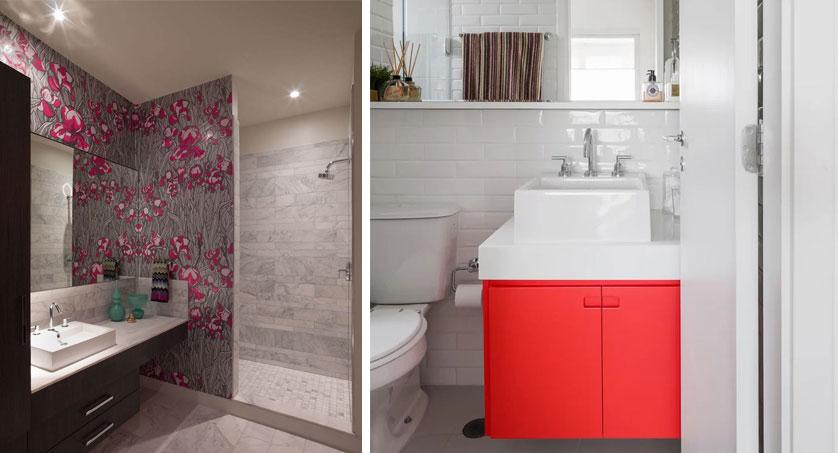 Tendências e Ideias de Banheiros Decorados -> Banheiros Planejados Vermelho