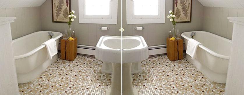 Tendências e Ideias de Banheiros Decorados -> Banheiro Com Pastilha De Vidro No Chao