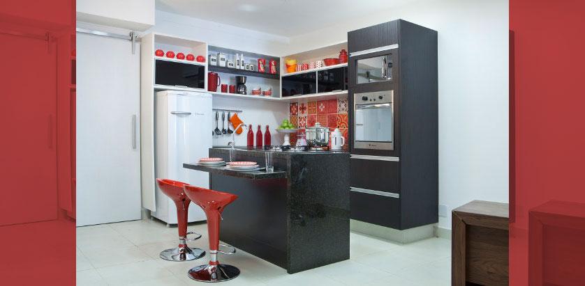 Cozinha Pequena 80 Inspirações de Decoração # Cozinha Planejada Pequena Com Vermelho