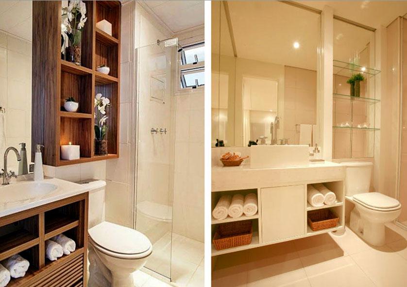 Tendências e Ideias de Banheiros Decorados -> Decoracao De Banheiro Pequeno Com Nichos