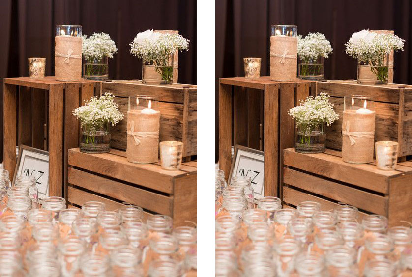 mesa com velas para lembrança de casamento
