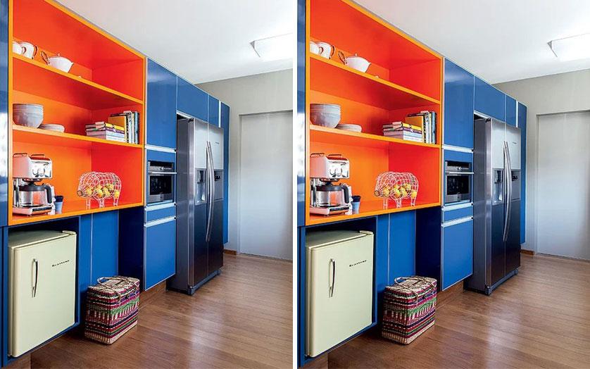 cozinha laranja e azul
