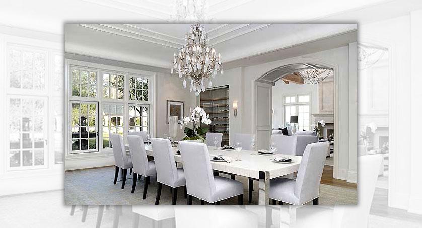 lustre de cristal em sala de jantar