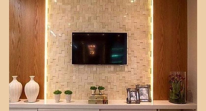 painel para tv com revestimento