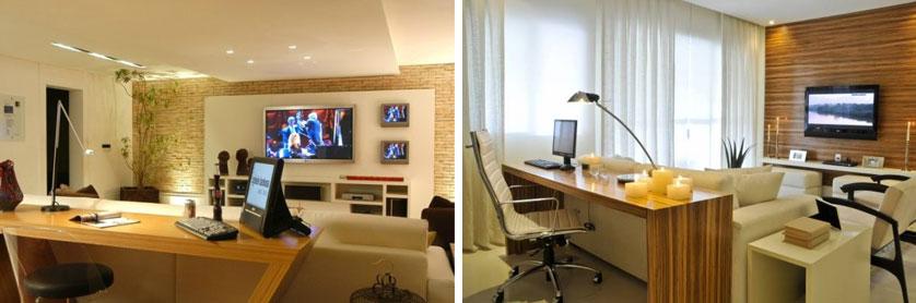Sala Tv Com Escritorio ~ Sala Escritório e painel para tv