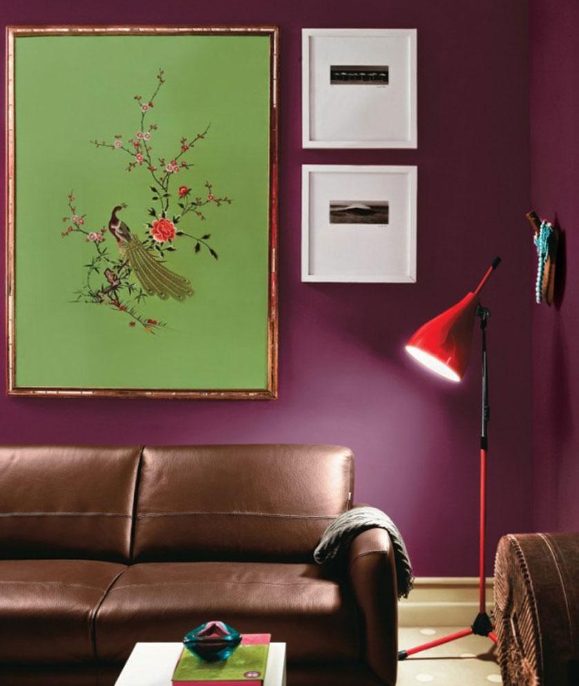 sala com parede roxa