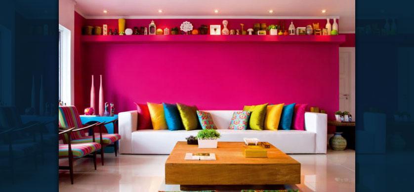 sala com parede pink