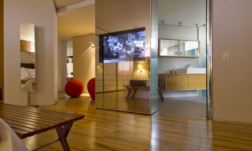 painel para tv com espelho