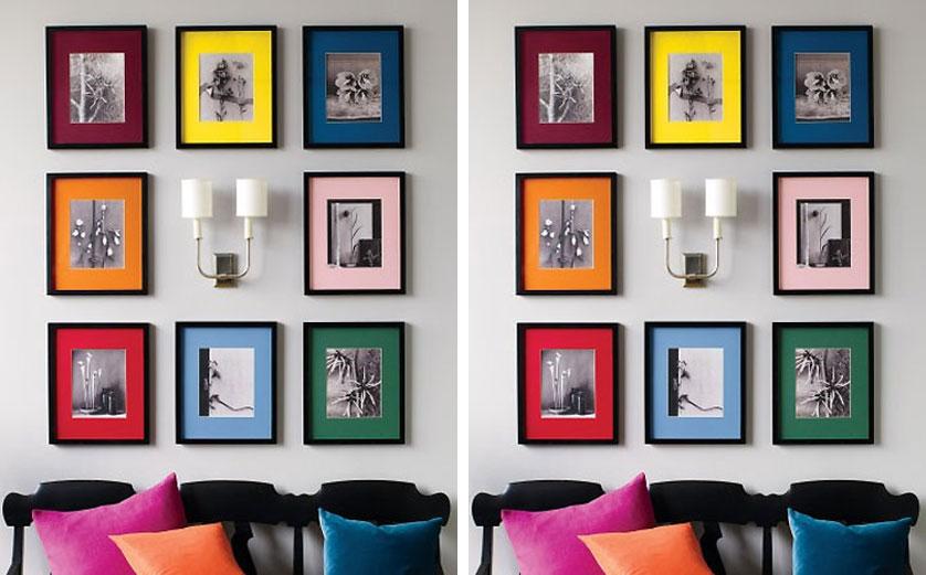 quadros decorativos com molduras coloridas