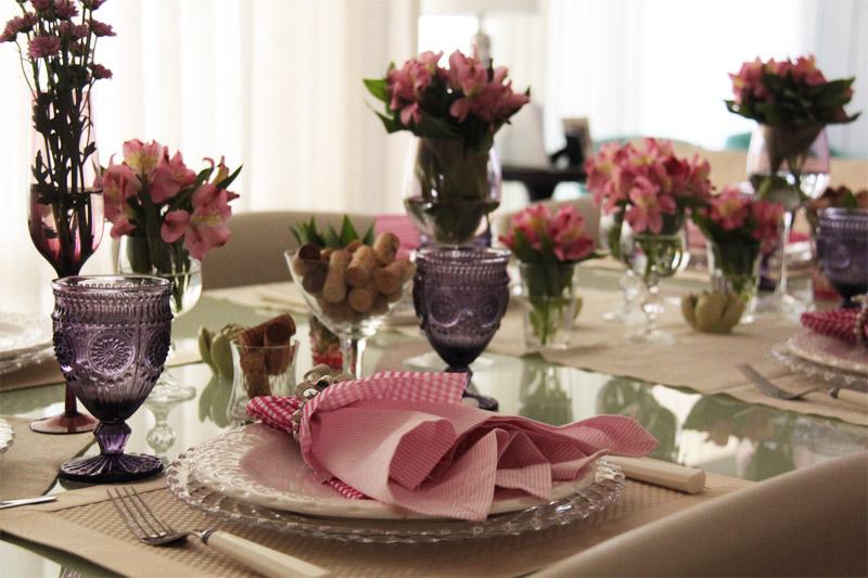decoração de jantar flores