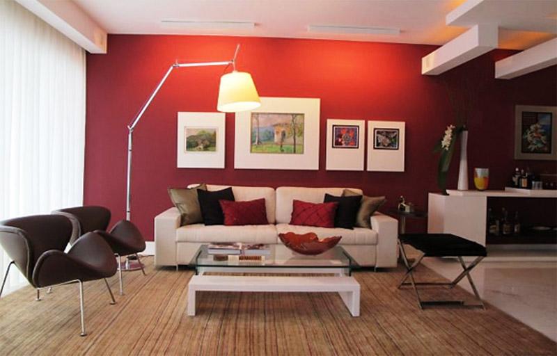 parede de sala com uma cor diferente