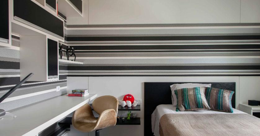 papel de parede listrado para quarto de casal
