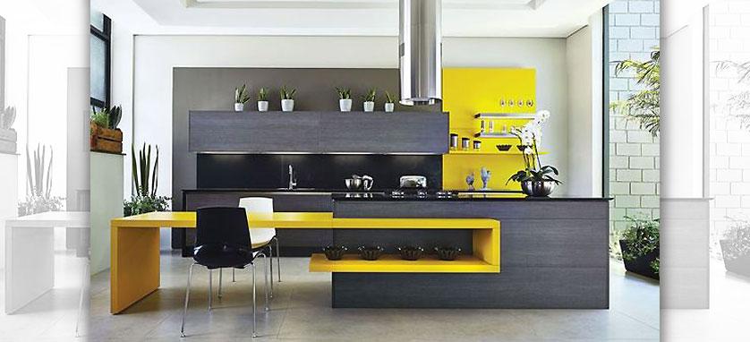 cozinha moderna cinza e amarela