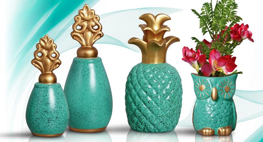 Par de vasos com abacaxi e coruja