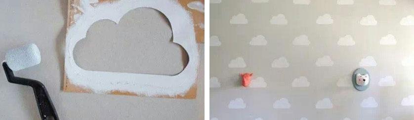 quarto de bebe com nuvens na parede