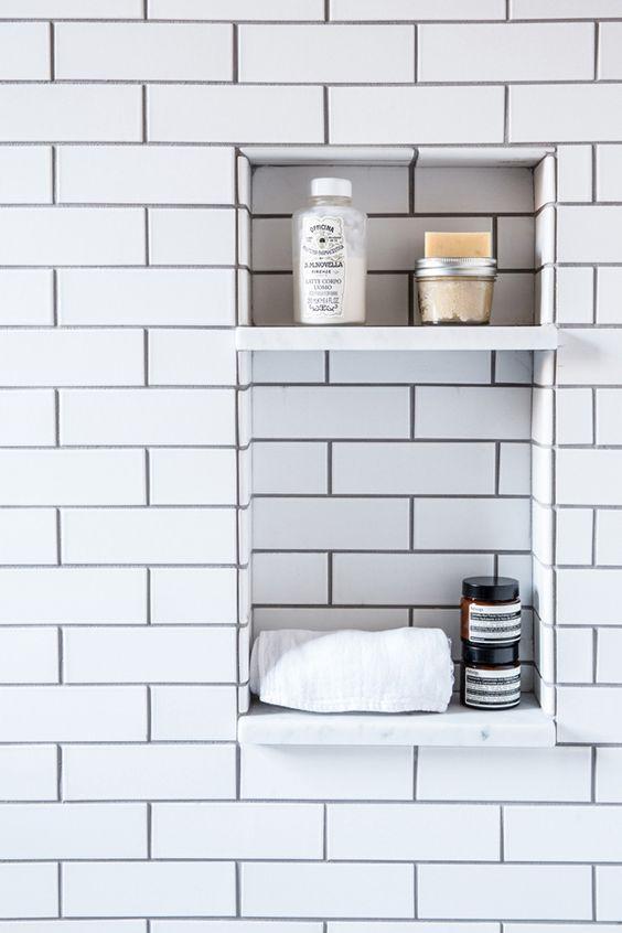 Saiba como fazer Decoração com Nichos em sua casa -> Nicho Banheiro Cerâmica