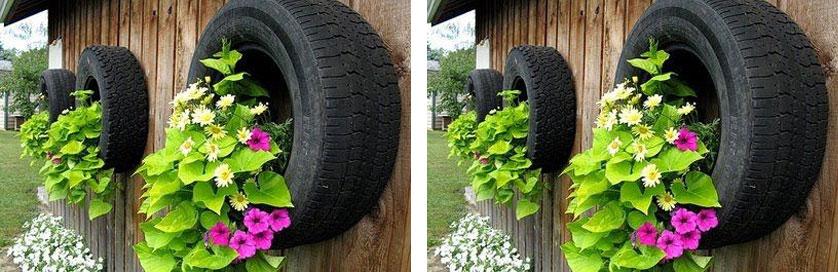 vaso feito com pneu