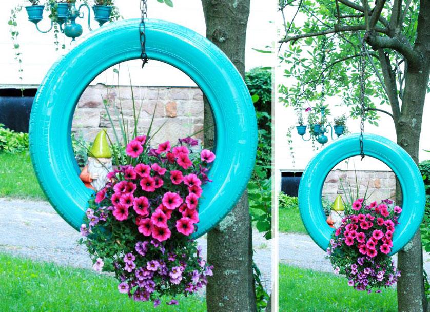 floreira com pneu
