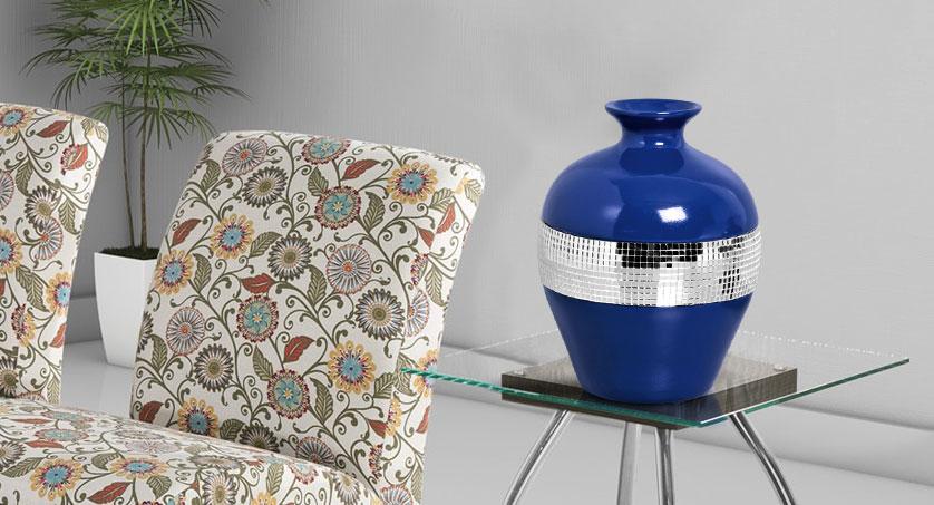 vaso espelhado azul