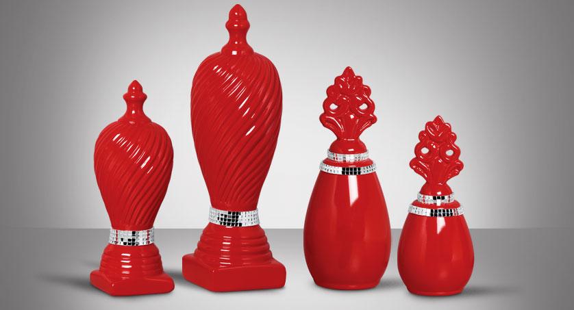 vasos vermelhos espelhados