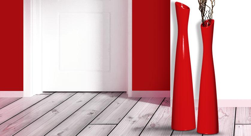 vasos de chão vermelhos