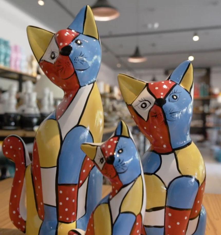 Gatos Decorativos Cerâmicos